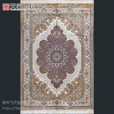 手工真丝地毯土耳其七圣山花卉艺术图案神圣纯洁欧式毯