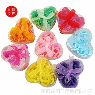 情人节热销 创意玫瑰香皂花3朵二层丝带肥皂花 皂片手工皂花批发