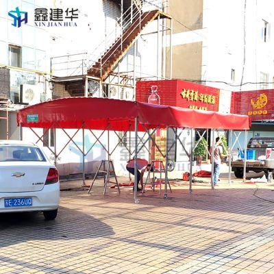 蔚县海鲜大排档推拉蓬一条街_ 布 做雨棚找鑫建华蓬业