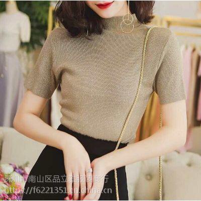 2018春夏新款女装韩版短袖针织衫女纯色针织T恤衫女短款时尚小衫