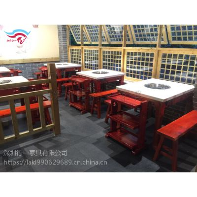 现代火锅桌 大理石电磁炉火锅桌 行一家具
