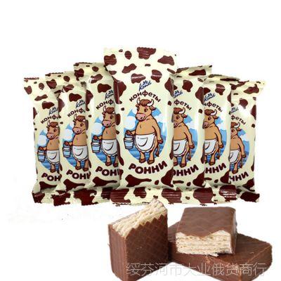 俄罗斯正品POHHN大奶牛威化巧克力牛奶威化补充能量工作休闲零食