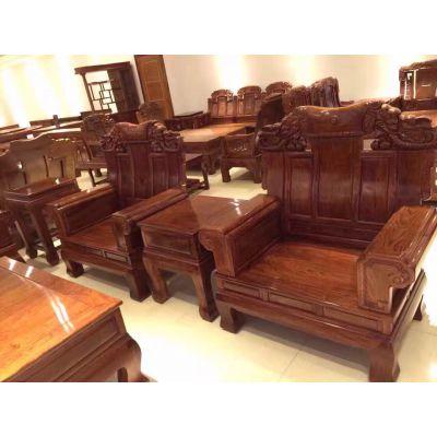 中山市红木古典家具刺猬紫檀鸿运大奔沙发图片价格名琢世家