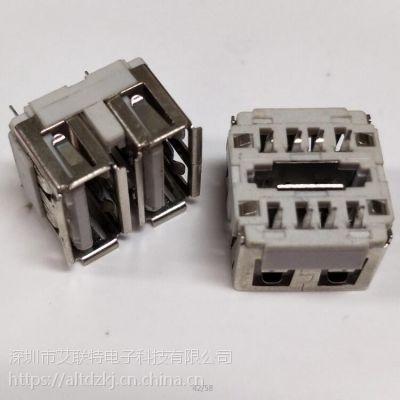 双层USB AF 180度 短体 10.5分体式 双层USB母座(注塑 焊线式)