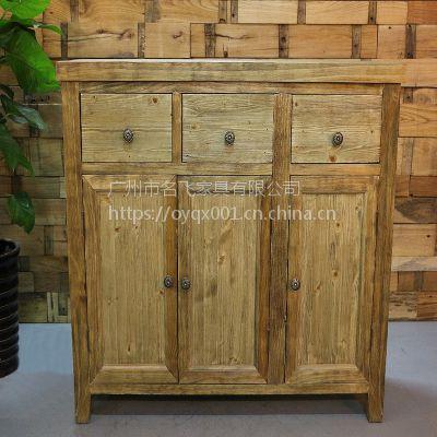 麦德嘉MDJ-ZTY13实木茶水柜餐厅收纳碗碟柜主题餐厅餐边柜美式复古柜子