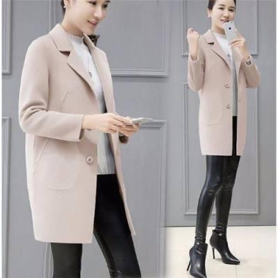 2018秋冬季女装新款韩版宽松妮子呢子大衣女中长款小个子毛呢外套学生女款妮子外套批发