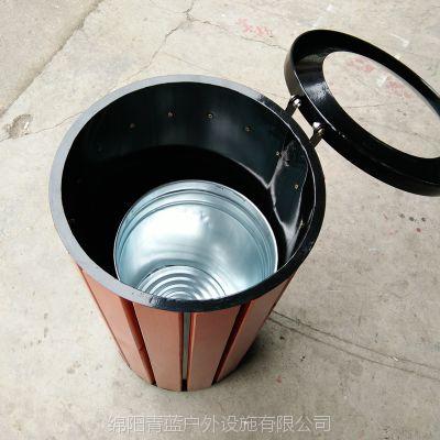 绵阳科技城垃圾桶 单筒木质果皮箱 青蓝四川垃圾桶制造商 一站式服务