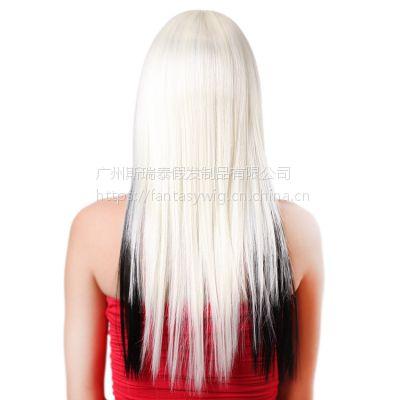 欧美女士假发 长直发米色自然混色cos 时尚定制国货品牌