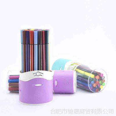 水彩笔 直销儿童绘画用品美术用品 桶装可水洗绘画塑料彩色笔批发