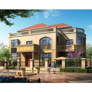 江西别墅设计AT260二层半带庭院豪华欧式别墅建筑设计全套图纸17.2mx11.2m