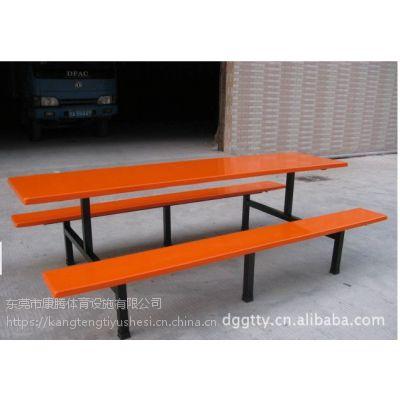 康腾供应长条凳连体餐桌椅 八人位快餐桌椅