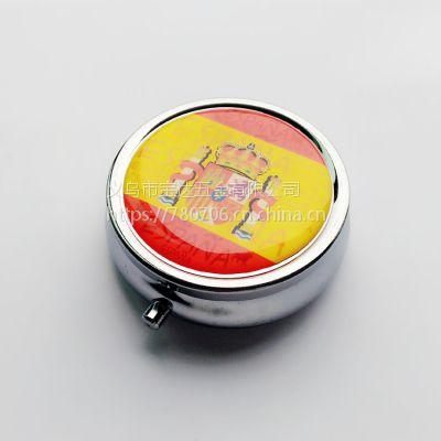供应西班牙滴胶金属药丸盒 西班牙旅游风景广告小药盒