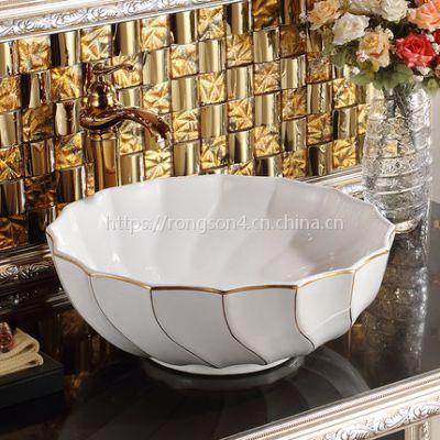 卫生间手绘金色浮雕彩金台上陶瓷镀金艺术洗手盆