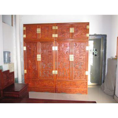 实木衣柜定制-厂家直销中式实木衣柜-老榆木仿古衣柜价格