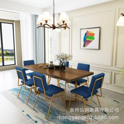 北欧铁艺餐桌椅组合 家用客厅小户型实木餐桌 简约酒店长方形餐桌