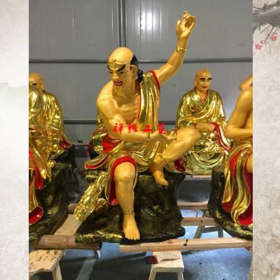 供应玻璃钢十八罗汉金身坐像江西九江寺庙罗汉像佛像塑造