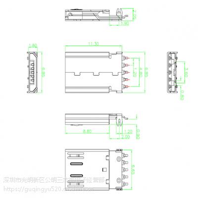 USB 2.0 贴片公头 MICRO 5P SMT前五后五 沉板0.9 带弹片L=11.3
