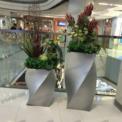 定制高档商场玻璃钢哑光花盆雕塑树脂纤维防腐花钵异形花盆厂家直销