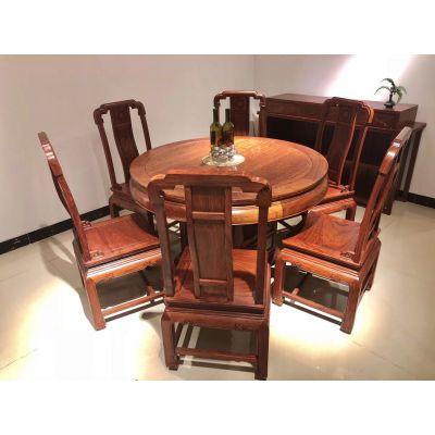 正宗花梨木家具餐厅餐桌椅组合7件套款式