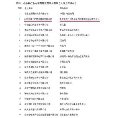 """中运""""亿矿网""""项目评为山东省电子商务示范平台"""