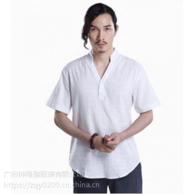 唐装中国风亚麻短袖t恤 男式V领改良汉服男