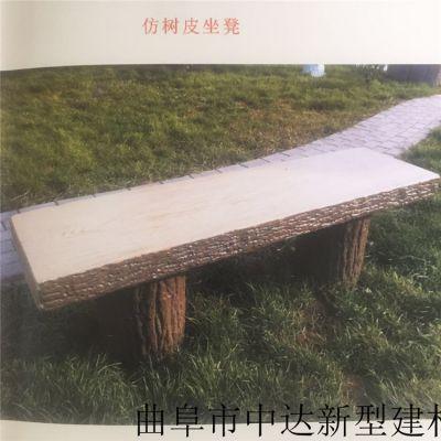 济南仿木树围凳 仿木纹景观环保花桶花箱 休闲户外仿古水泥长廊