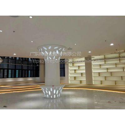高中档展厅包柱雕刻花式柳叶孔铝单板指定德普龙加工厂