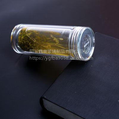 采购双层玻璃杯选山东亿泉玻璃口杯双层玻璃杯价格供应