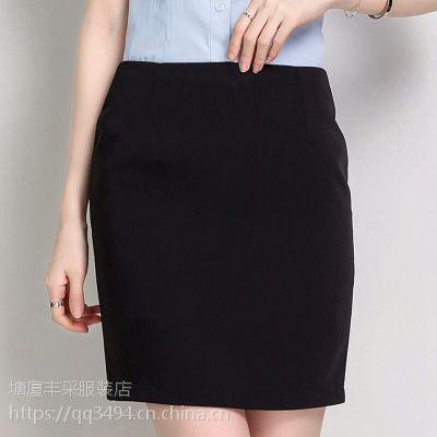 供应东莞塘厦丰采制衣厂家直销批发高档紧身黑色短裙半身裙办公室包裙量身定做