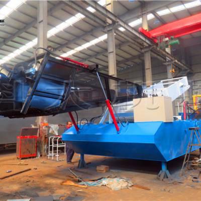 福州水面漂浮垃圾清理船 打捞收割水葫芦机械