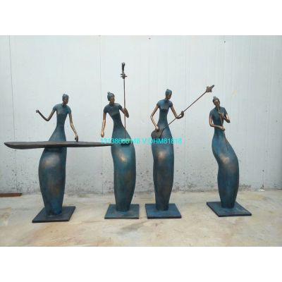 铸铜古代女子弹古筝雕像玻璃钢吹笛子拉二胡弹琵琶造型雕塑江南美女吹拉弹唱塑像音乐人物主题别墅园林摆设