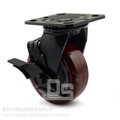 大世脚轮厂家 高品质PU材质 聚氨酯塑芯脚轮 环保专用轮 工业用轮