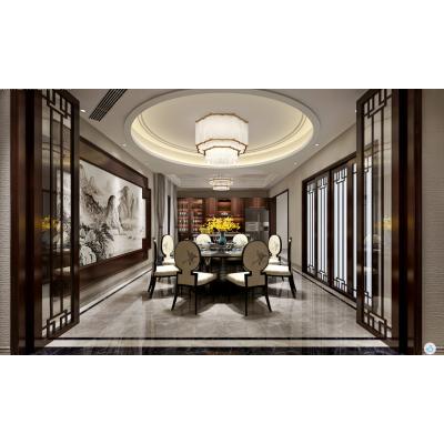 南京龙发装饰公司-同城世家600平方新中式风格别墅装修效果图-南京别墅装修设计公司哪家好