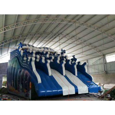 新型投资项目水上充气滑梯 水上世界水滑梯哪有 夏天水乐园水滑梯哪定制