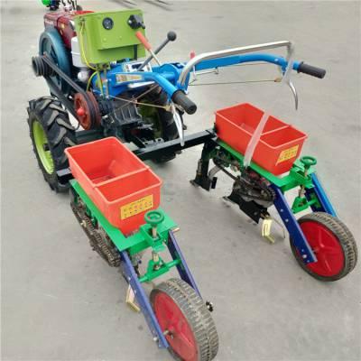 两行玉米施肥播种机 农用手扶播种机 大豆精播机