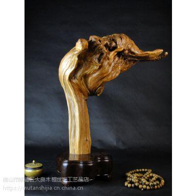 木檀世家崖柏陈化老料根雕刻摆件工艺品仙人掌 崖柏木雕件佛手掌