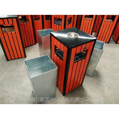 实木环卫果壳箱 小区方形单桶 青蓝现货热卖 湿地公园果皮箱