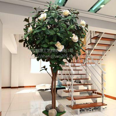 仿真玉兰树客厅酒店落地款橱窗装饰假树室内用造型树绿色植物布景