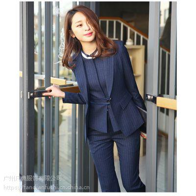条纹西装职业装女装套装春秋新款女商务正装