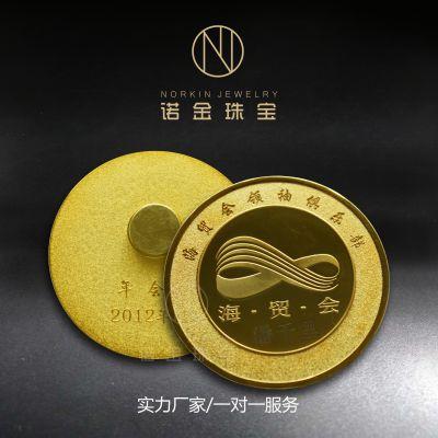 厂家纯金纯银徽章定制 海贸会精品徽章贵金属订做 黄金胸章