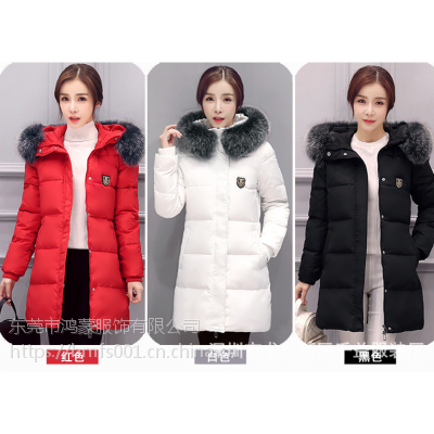 全国新款韩版修身女式羽绒服 连帽长款轻薄羽绒服女时尚保暖外套批发