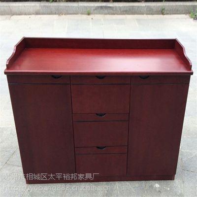批发两门整装茶水柜落地三门边柜油漆中式贴实木皮橱柜办公家具