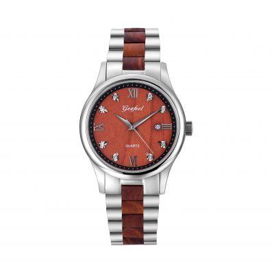 厂家批发不锈钢情侣手表 男士不锈钢间檀木防水石英手表