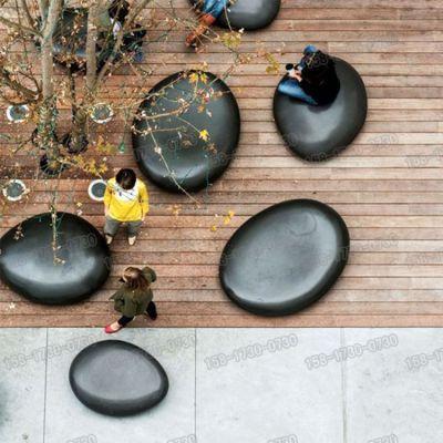 户外仿真玻璃钢石头雕塑玻璃纤维鹅卵石座椅哑光树脂纤维坐凳定制