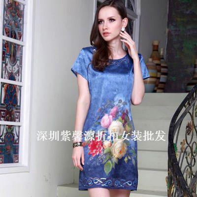 供应杭州百分百真丝连衣裙新款折扣女装尾货货源