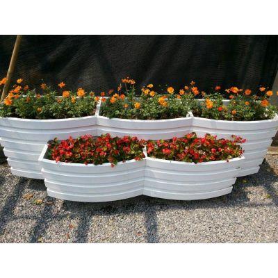 PVC微发泡3+2组合艺术花箱 道路隔离花箱市政防腐木花箱定制厂家