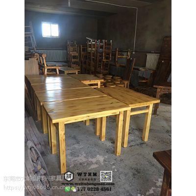 天津现代中式实木餐桌,老榆木饭桌,自然环保结实耐用的餐桌椅