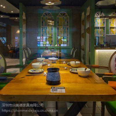 众美德家具厂定制实木餐桌餐椅,美式乡村餐桌,做旧长条桌子!