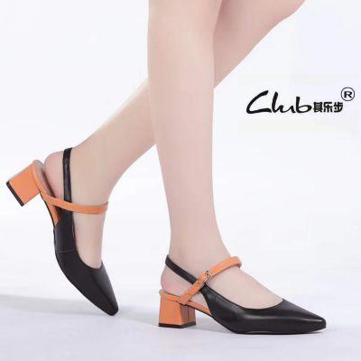2018夏季新款真皮女鞋欧美粗跟中跟尖头舒适工作时装凉鞋女浅口