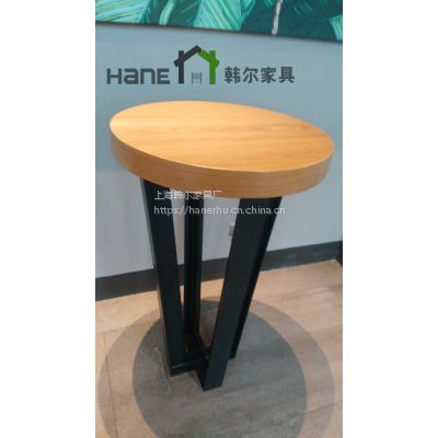 上海韩尔家具厂定制星巴克吧桌 简约现代咖啡厅实木吧桌定制